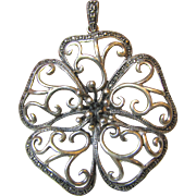 "Huge 2 1/2"" Sterling & Marcasite Flower Pendant, 22 grams"