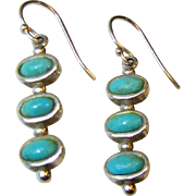 Sterling & Turquoise Dangle Earrings, French Wires, 5 grams