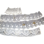 Four Lengths of Early Cotton Net Lace for Doll Dresses