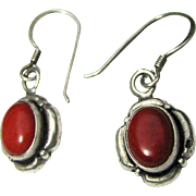 Lovely Sterling & Red Coral Pierced Dangle Earrings, 4 grams