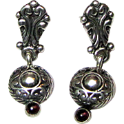 Dainty Carolyn Pollack QT Sterling Garnet Earrings,3.4 grams