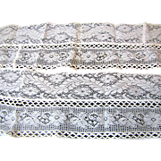 "80"" Long Section of Fine Early Cotton Lace from Victorian Petticoat"