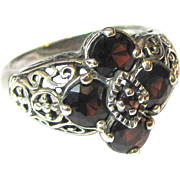 Filigree Sterling & Garnet Ring, Size 8, 5 grams