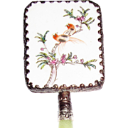 Vintage Oriental Chinese Enameled Hand Mirror with Jade Handle