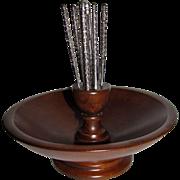 Harris, Mid Century Oak Wooden Nut Bowl with Nutcracker & 4 Picks