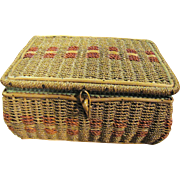 Harris, Vintage Wicker Sewing Basket w/ Lots of Notions