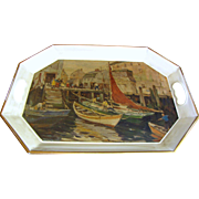 Decoupage Harbor Design Metal Tray w/ Handles