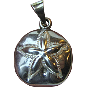 Large Sterling Silver Sand Dollar Pendant, 16 grams