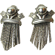 Greek Byzantium Revival Sterling Fringe Earrings, 10 grams