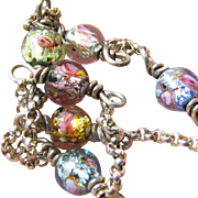 "Sterling & Foiled Glass Rose Bead 18"" Necklace, 11 grams"