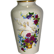 The Lenox Gift of Love Vase, Limited Edition, Doves with Floral, USA, Mint