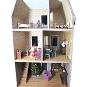 Christmas Themed Vintage Wooden Doll House, Fully Furnished
