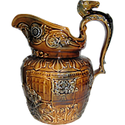 1904 - 1928 Arthur Wood England Brown Pitcher, Embossed Riding Scene, Horse Head Handle, Mint