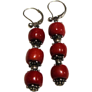 Sterling & Enhanced Coral Dangle Earrings