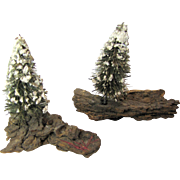 2 Vintage Miniature Christmas Trees, Nativity or Diorama