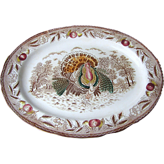 "Gorgeous Large Vintage Turkey Platter 19"" by 14"""