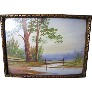 Charming Small Vintage Gouache Painting of Country Scene