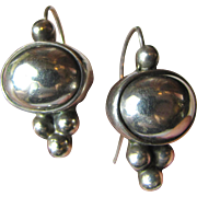 Bold Sterling Domed Dangle Peirced Earrings, 12 grams