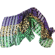 "Vibrant Italian Silk Animal Print 52"" Scarf by Honey"
