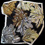 "21"" Square Elegant Floral Design Silk Scarf by Jones NY"