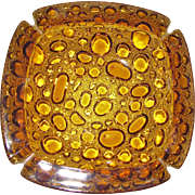 Mid Century Amber Bubble Pebble Blenko Art Glass Ashtray, Large