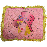 Charming Embroidered & Painted Girls Face Boudoir Pillow