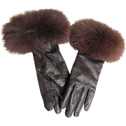 Ex-Large Brown Leather Gloves w/ Rabbit Fur Cuff, Lined