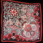 "Vintage Vera 29"" Square Red & Black Paisley Silk Scarf"