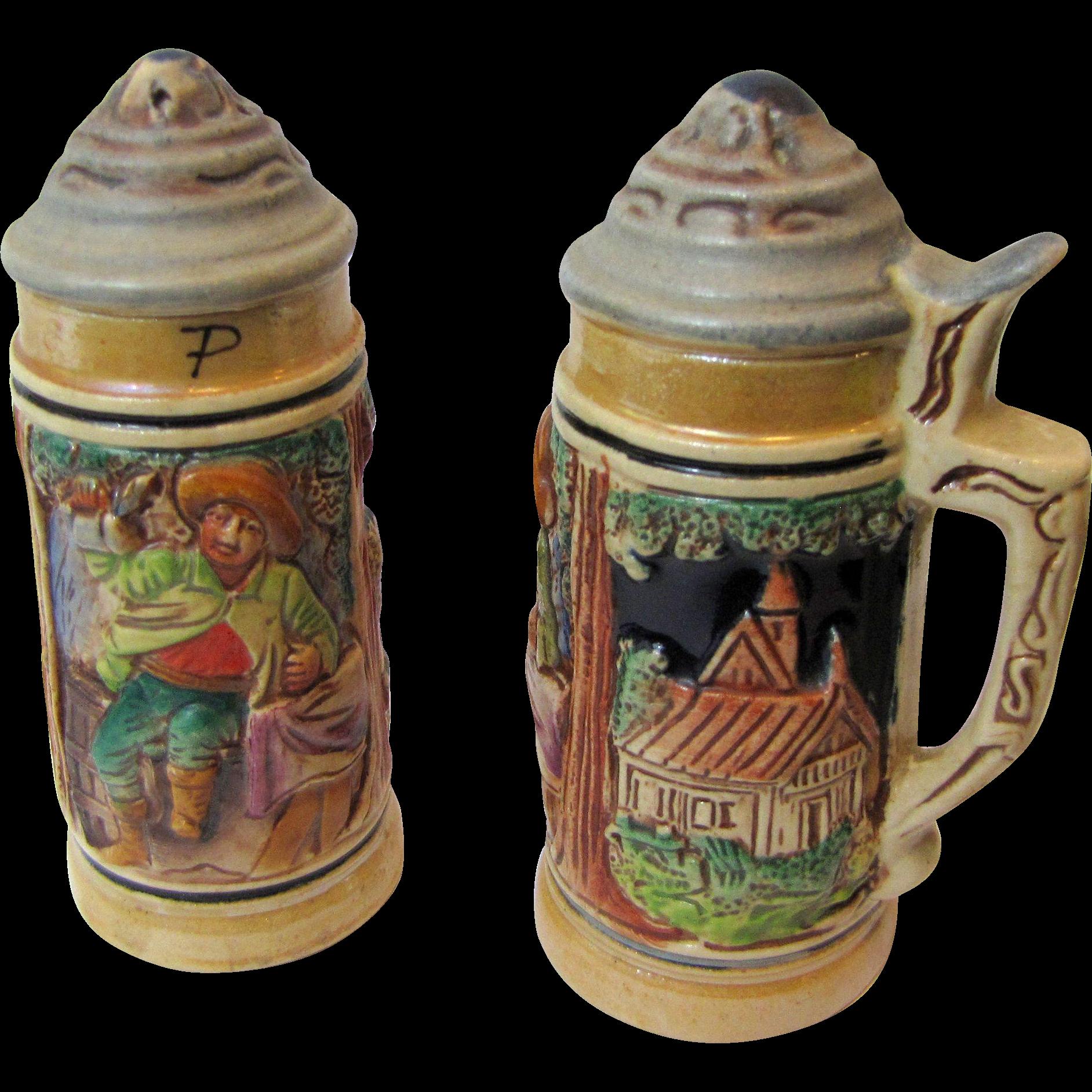 Harris Decorative Beer Stein Salt Pepper Shakers From