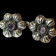 Pre-Eagle Mexican Sterling & Amethyst Earrings
