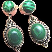 Nickle & Malachite Vintage Dangle Earrings