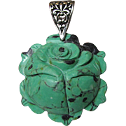 Chinese Turquoise Hand Carved Flower Pendant w/ Sterling Filigree Bail