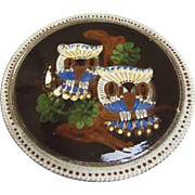 "12"" Folk Art Handarbeit Wall/Serving Pottery Platter, Owl Design"
