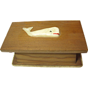 "Vintage Nautical Trinket Box w/ ""Carved"" Whale"