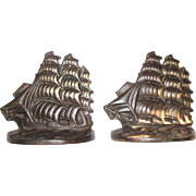 Pair 1929 Cast Iron Bookends, Ship Design by Connecticut Foundry Flying Cloud Corp.
