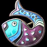 Signed David Andersen Enamel Sterling Stylized Fish Pin