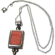 """Mexican Sterling & Pink Spiny Oyster 16"""" Pendant Necklace, 9 grams"""