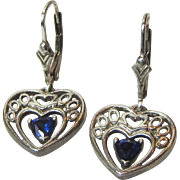 Sterling & Blue Crystal Heart Earrings w/ Lever Backs, 4 grams