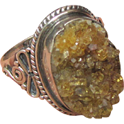 Ornate Size 8 Druzy Sterling Ring, 7 grams