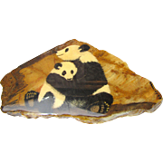 Hand Painted Panda Painting on Cut Stone from Guatemala