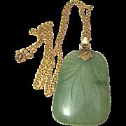 Art Deco Jade Pendant w/ 10k Gold Bale (bonus gold-toned chain)