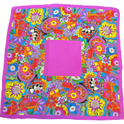 "Laurel Burch Cat Design Silk 21"" Square Scarf, Pink, Brights"