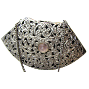 Filigree Metal Evening Bag w/ Amethyst Quartz Decoration