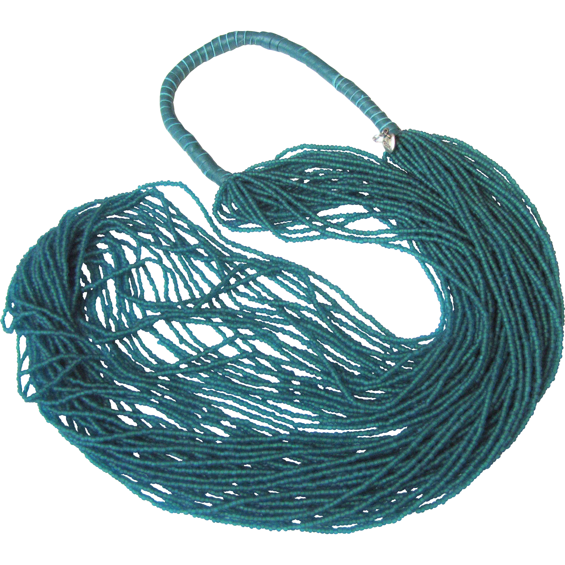"""Fossil 34"""" Turquoise Micro Bead & Leather Necklace"""