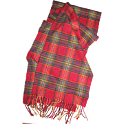 "Scottish Cashmere 60"" Plaid Scarf Red, Mauve, olive"