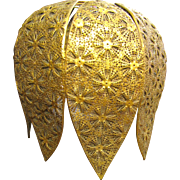 Large Gilt Filigree Metal Flower Lampshade, Perfect for Swag