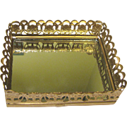 Elegant Mini Gilt Mirrored Vanity Tray