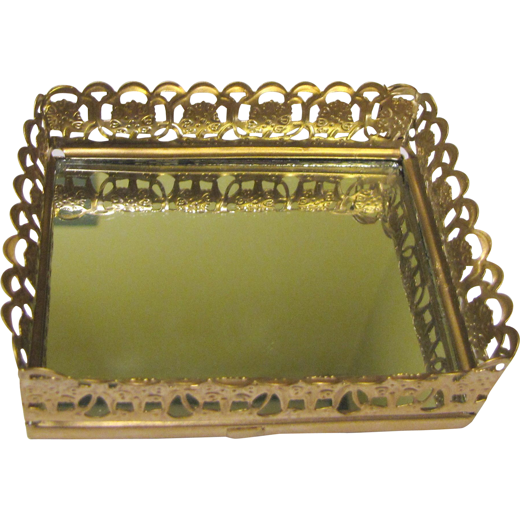 Elegant Mini Gilt Mirrored Vanity Tray From