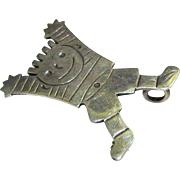Cute Mexican Sterling Soccer Player Pin Pendant, 10 grams