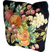 "Glorious Wool Needlepoint Fruit Design 15"" Pillow (2 available)"